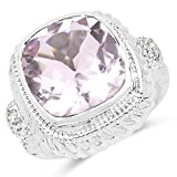 6.34 Carat Genuine Pink Amethyst & White Topaz .925 Sterling Silver Ring