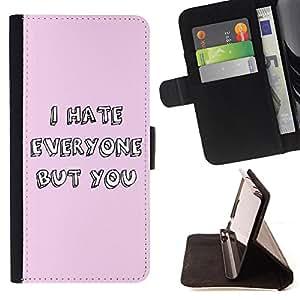 King Case - FOR Sony Xperia Z3 Compact - I hate everyone but you - Prima caja de la PU billetera de cuero con ranuras para tarjetas, efectivo Compartimiento desmontable y correa para la mu?eca