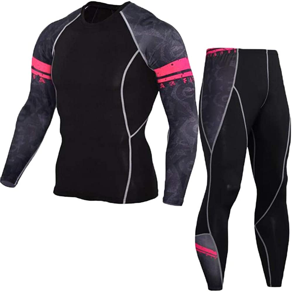 2 Pezzi Fitness Sportivi da Uomo Asciugatura Rapida Manica Lunga Pantaloni Lunga