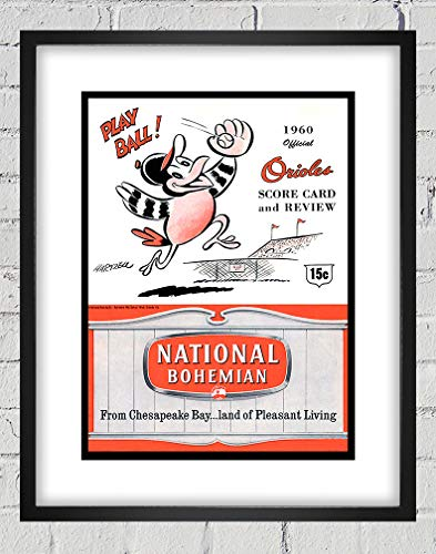 1960 Vintage Baltimore Orioles Scorebook Cover - Digital Reproduction - Print or Matted Print or Framed Matted Print