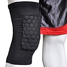 Honeycomb Foam Pad Crashproof Antislip Basketball Leg Knee Short Sleeve Color Black Size L