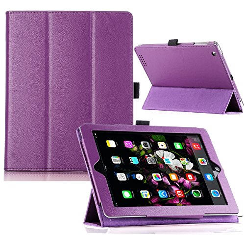 ULAK Thin Folio Magnetic Synthetic Leather Stand Case Smart Cover With Wake/sleep Function For Apple New iPad 4th With Retina Display/iPad 2/iPad 3 (Purple)