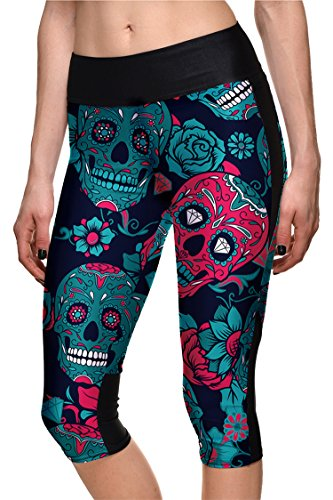 COCOLEGGINGS Ladies Floral Skulls Printed Halloween Leggings Capri