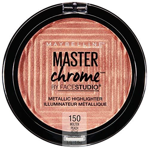 Maybelline New York Facestudio Master Chrome Metallic Highlighter Makeup, Molten Peach, 0.19 oz.