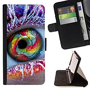 DEVIL CASE - FOR LG OPTIMUS L90 - Eye Rainbow Frost Makeup Fashion Feather - Style PU Leather Case Wallet Flip Stand Flap Closure Cover