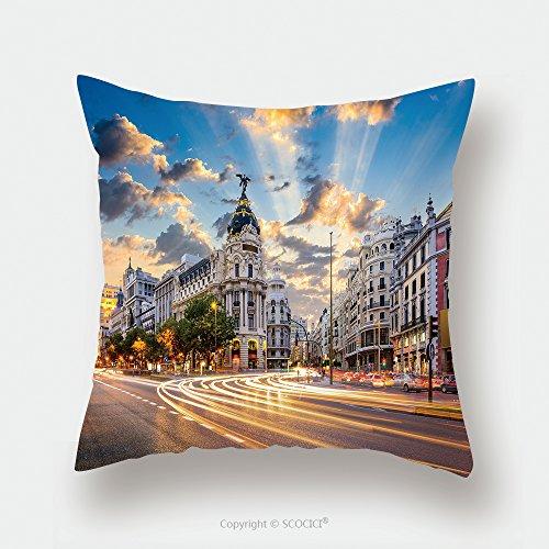 Custom Satin Pillowcase Protector Madrid Spain On Gran Via_514769480 Pillow Case Covers Decorative by chaoran