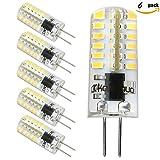 Kakanuo G4 LED Bulb Dimmable 2.5 Watt Warm White 3000K Bi-pin Base 48X3014SMD LED Corn Bulb AC/DC 10V-18V(Pack of 6)