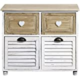 Rebecca Srl Cupboard Sideboard Cabinet 4 Drawers White Light Wood Country Vintage Bedroom Kitchen (cod. 0-1315) by Rebecca srl