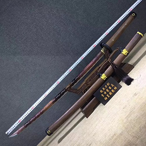 Tachi,Samurai Sword,Hand Forged(High Carbon Steel Etch Blade,Rosewood,Alloy) Heat Tempered