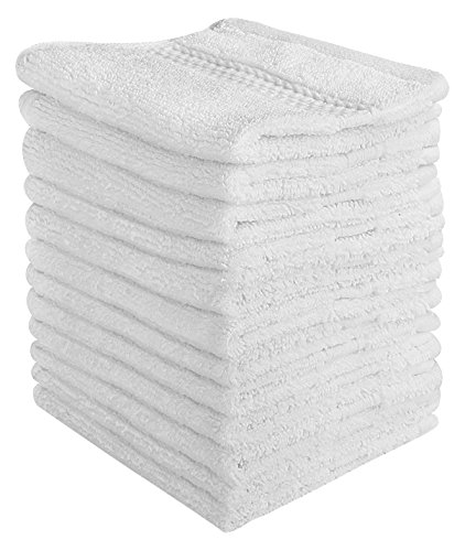 Elina Home Nap-6 Luxury Cotton Washcloths Easy Carefingertip Towels, White by Elina Home