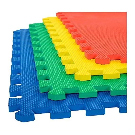 Her Home - Eva Kid's Interlocking Multi Color Play Mat - 10 Mm Thickness - Set Of 4 Tiles - 60 Cm X 60 Cm Each Tile