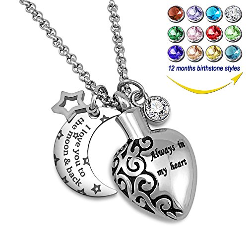 One Love Heart Necklace - YOUFENG Urn Necklaces for Ashes Aways in My Heart I Love You to The Moon and Back Ashes Holder Pendant Necklace (April Birthstone URN Necklace)