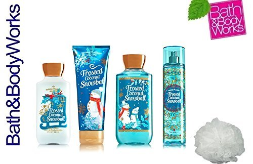 Bath & Body Works FROSTED COCONUT SNOWBALL Deluxe Gift Set Lotion ~ Cream ~ Fragrance Mist ~ Shower Gel + & FREE Shower Sponge Lot of 5 Pumpkin Cupcake