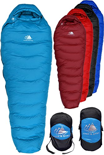Hyke & Byke Down Sleeping Bag for Backpacking – Snowmass 0 Degree F Ultralight, Ultra Compact Down Filled 4 Season Men's and Women's Lightweight Mummy (20f Mummy)