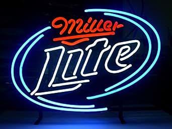 New Miller Lite Real Glass Neon Light Sign Home Beer Bar