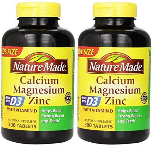 Nature Made Calcium Magnesium Zinc Tablets with Vitamin D, 300 Count (Pack of 2) (Zinc Tablets Calcium 100 Magnesium)