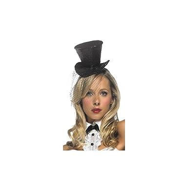 a822999a22b34 Amazon.com  Costume Accessory  Mini Top Hat Glitter W Veil Black ...