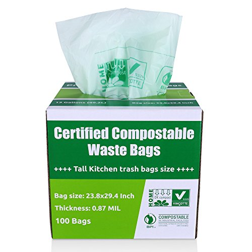 Primode 100% Compostable Bags, 13 Gallon Food Scraps Yard Waste Bags, Extra Thick 0.87 Mil. ASTMD6400 Biodegradable Compost Bags Small Kitchen Trash Bags, Certified By BPI And VINCETTE, (100)