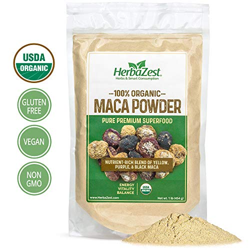 Cheap Maca Powder Organic – Peruvian Premium Blend of Yellow, Purple & Black Maca – Vegan & USDA Certified – 16oz (454g) – Perfect for Smoothies, Juices, Baking, Yogurt & Cereal
