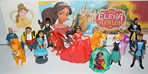 Disney Elena of Avalor Deluxe Figure Set of 14 Toy Kit with Figures, Tattoo Sheet and ToyRing featuring Princess Elena, Wizard Mateo, 3 Jacquins, Lieutenant Gabriel and More!