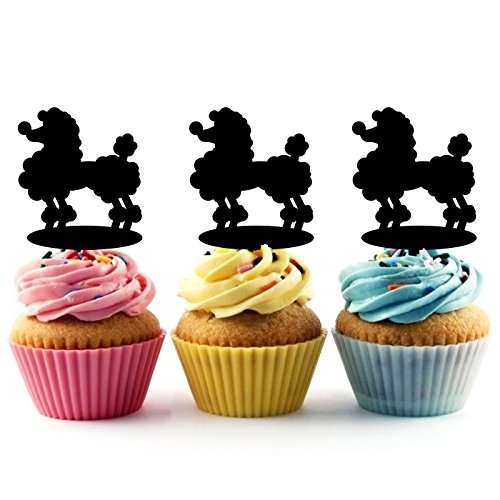 TA0172 Dog Poodle Silhouette Party Wedding Birthday Acrylic Cupcake Toppers Decor 10 pcs jjphonecase
