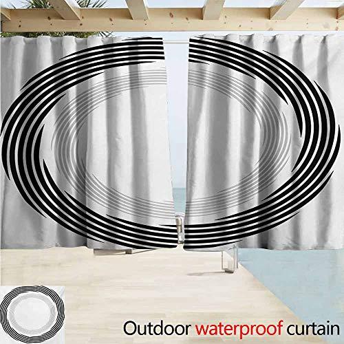 Lcxzjgk Spires Outdoor Door Curtain Abstract Circular Element with Interlace Spinning Concentric Rings Simplistic Artwork Waterproof Patio Door Panel W63 xL72 Black ()