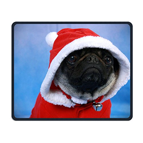 Mouse Pad, Santa Pug, Laptop Wired Surface Portable Mouse Pad Mat for Women Men at Home Or Work