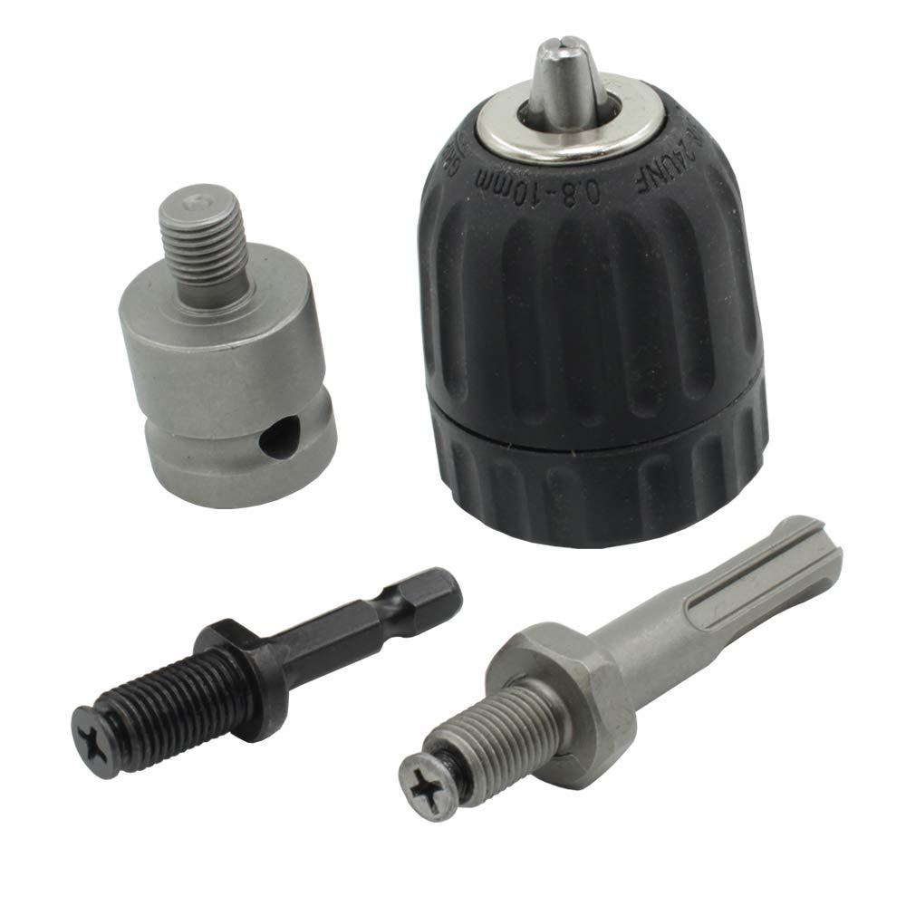 v/ástago hexagonal de 1//2 pulgada adaptador de cambio r/ápido con v/ástago SDS-Plus de 1//4 pulgadas HZJT-10A Adaptador de rosca de 0,8 a 10 mm sin llave para taladro de 3//8 pulgadas y 24 UNF