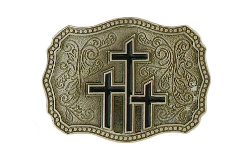 Triple Crosses Pewter Belt Buckle