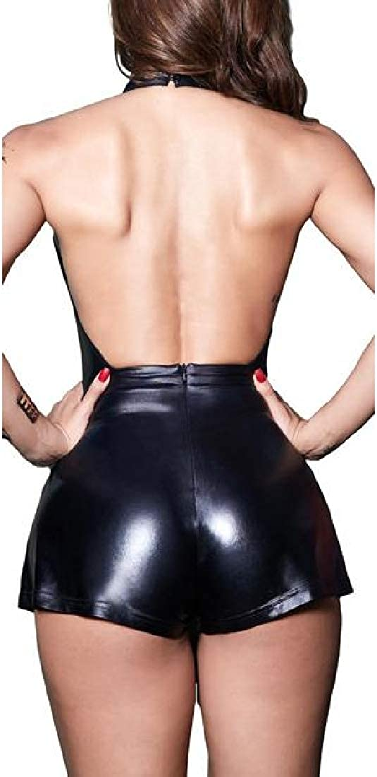 Joe Wenko Womens Backless Keyhole Halter Metallic Club Short Bodysuit Jumpsuits