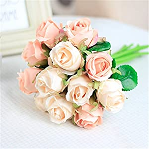 XGM GOU 12Pcs Rose Flowers Bouquet Artificial Silk Flower White Rose Wedding Bouquet for Home Party Decoration 6