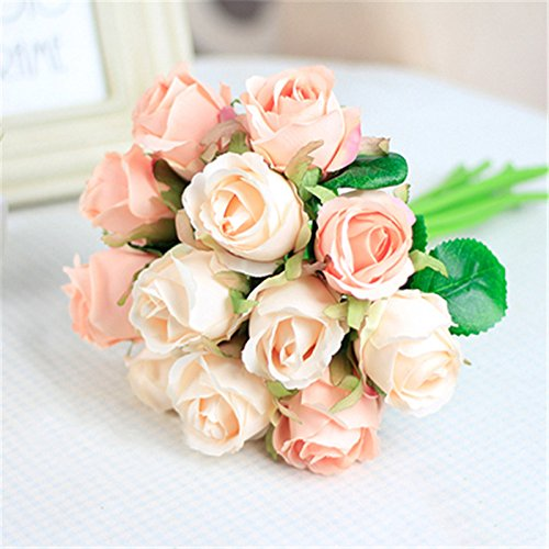 Zhuangshihua 12Pcs/Lots Artificial Rose Flowers Wedding Bouquet White Pink Thai Royal Silk Home Decoration Party Decor White pink by Zhuangshihua