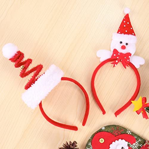 Pack of 8 Christmas Headbands with Different Designs for Christmas and Holiday Parties (ONE Size FIT ALLL) Red