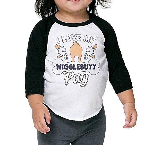 Ilove My Wigglebutt Pug Unisex Kids 3/4 Sleeves Raglan T Shirts Child Youth Slim Fit Sports Uniforms 5-6 - Witcher Sunglasses 3