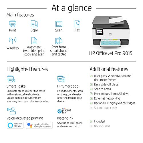 HP OfficeJet Pro 9015 All-in-One Wireless Printer, with Smart Tasks for Smart Office Productivity & Never Run Out of Ink with HP Instant Ink (1KR42A) by HP (Image #9)