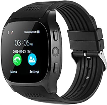 Highpot Smart Watch T8 BT3.0 Smart Wrist Watch Support SIM and TFcard Camera Pedometer Sport Tracker for iOS iPhone Android (Black)
