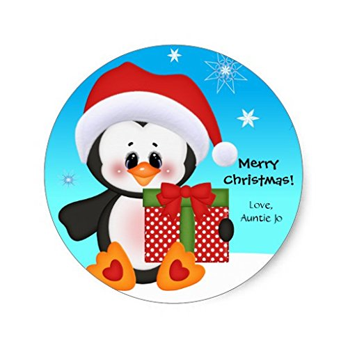 Cute Penguin Christmas Stickers Round Envelope Sticker Label Seals Christmas Gift Tag Stickers Set of 20