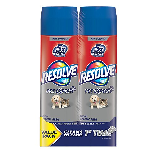 Resolve Dual Pack Pet High Traffic Carpet Foam, 44 oz , Clea