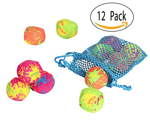 12 Pack Splash Bomb Balls With Neon Drawstring Mesh Bag for Pool by Big Mo's Toys