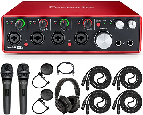 Focusrite Scarlett 18i8 USB Interface with Pro Tools and Standard Dual Recording Accessories Kit Ideal For Musicians, Producers and Small Bands
