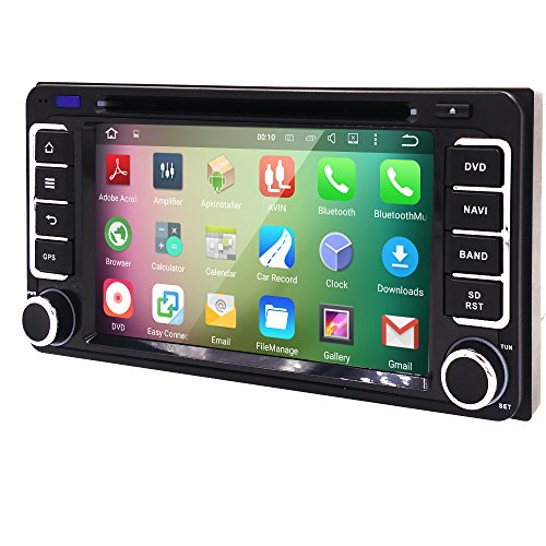 Quad Core Android 5.1 2 Din In Dash HD 1024600 Capacitive Touch Screen Car DVD Player GPS Navigation AM FM Radio for Toyota RAV4 Corolla Camry Tundra 4Runner Previa Highlander Yaris Prado Hilux (Toyota Yaris Dvd compare prices)