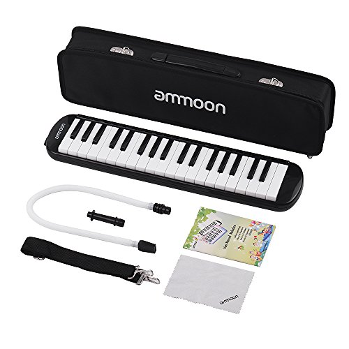 ammoon 37 Key Melodica Instrument with Carry Case for Music Lovers Beginners-Black