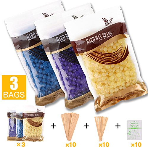 Hair Removal Hard Wax Beans, Puridea 3Pack 300g 10.58oz Hot Wax Depilatory Waxing Kit for Face/Body/Legs/Underarms/Bikini Lines