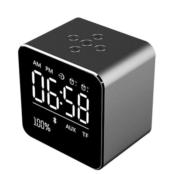 STRIR Reloj Alarma Digital Regulable con Radio FM Estéreo Y Sonido HD con Altavoces Bluetooth Wireless Stereo Altavoz Mic para iPad iPhone Móviles Android ...