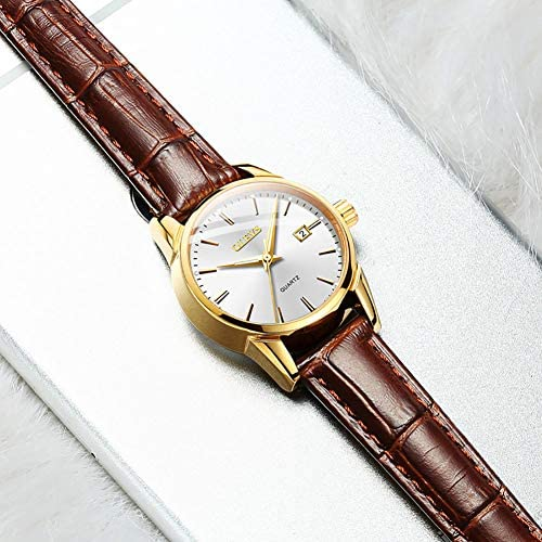 Men Women Watches Brown Leather-OLEVS Classic Analog Quartz Watch Week Date Casual Luminous Black/Blue/White Dial 3ATM Waterproof Wrist Watch Lovers WeeklyReviewer
