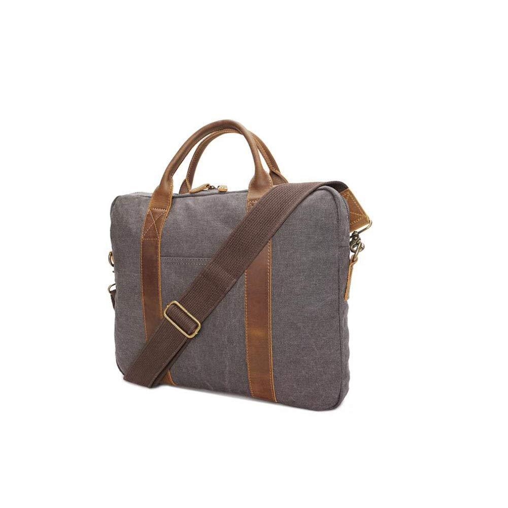 Xinyuan New Mens Canvas Bag Handbag Mens Retro Shoulder Slung Computer Bag Multi-Function Briefcase Leisure Travel Gray Color : A Brown