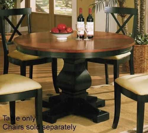 Antique Style Black Finish Wood Round Dining Table