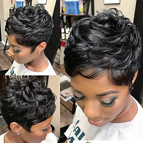 Yviann Pixie Human Hair Wigs Short Layered Wavy hairstyle Black Cute Wigs Short Hair Wigs for Black Women (Cute Hairstyles For People With Short Hair)