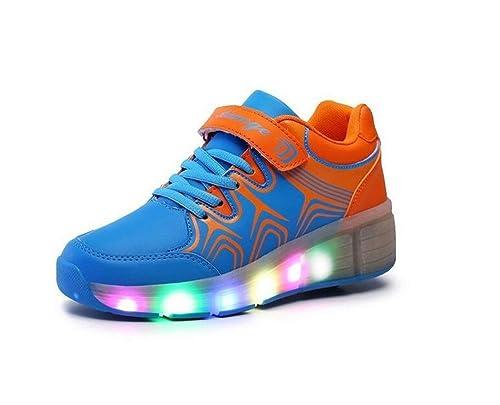 464ecd5f753d Pamray - Scarpe con rotelle suola rotonda per skate scarpe sneakers con  luci LED da bambini adulti unisex