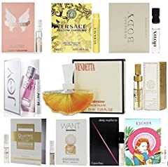 Here you will enjoy 10 high end perfume samples. All of them are from Saks, Neiman Marcus, Bergdorf Goodman, Barneys NY. Olymplea, Marni, Carven, Chloe, YSL, Pink Sugar, Anna Sui, Cartier, Juicy Couture, Dolce Gabbana